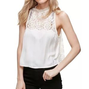 Free People Tied to You Lace Open Back Crop Top